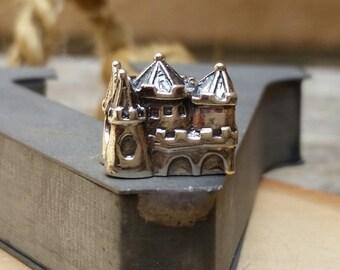 Sterling Silver Fairy Tale Castle Slider Bead,Royal Castle European Large Hole Bead for Charm Bracelet,Fairytale Charm,Princess Castle Bead