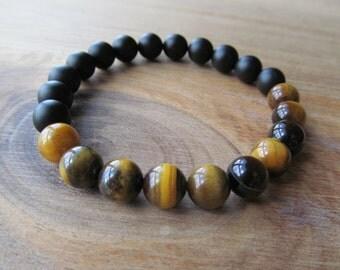 8mm Tiger Eye and Black Onyx Beaded Bracelet, Matte Black Onyx Bracelet, Gemstone Bracelet,Stacking Bracelet, Gift for Men, Mens Jewelry