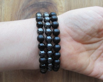 Bracelet Set Matte Black Onyx, Hematite, Black Onyx, Stacking Bracelets, Men's Bracelet, Beaded Bracelets, Mala Bracelet, Yoga Jewelry
