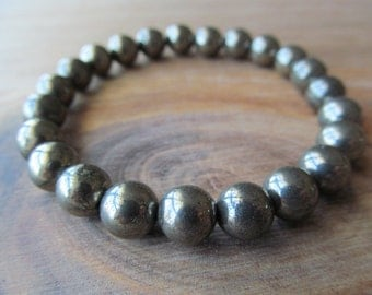 Mens Beaded Pyrite Bracelet, 8mm Natural Semi Precious Gemstones, Stacking, Layering, Metal Stretch  Bracelet