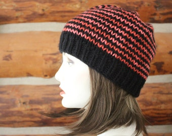 Hot Pink and Black Knit Striped Beanie