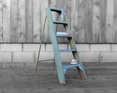 Green Metal Step Ladders Industrial 1960s - Quirky Storage Books