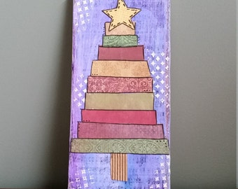 Clearance! Rustic Christmas Tree Sign; Christmas Decor; Wood Plaque; Primitive Christmas Tree