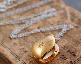 Gold Locket, Locket Pendant, Sterling Silver, Heart Locket, White Topaz, Diamond Heart, Yellow Gold Necklace, Locket, Memory Locket, Gold