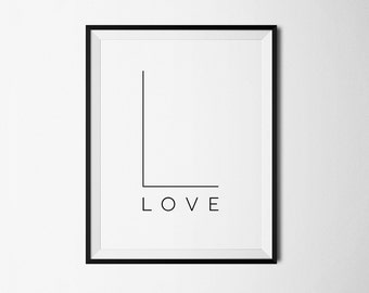 Minimalist print, Love print, Minimalist printable, Love art, Love decor, Love wall art, Printable art, Love printable, Love poster