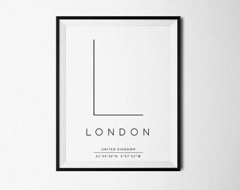 London, London print, London art, London gifts, London Coordinates, London poster, London printable, London decor, City Prints