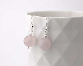Rose Quartz Earrings, Sterling Silver, Crystal Earrings, Silver Earrings, Bridesmaid Earrings, Rose Quartz, Pink Earrings, Bridal earrings
