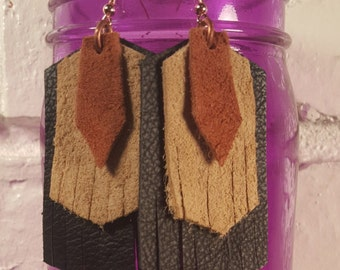 Black and Tan Leather Earrings