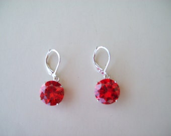PERFECT SIZE - Orange Round 12mm Gemstone Earrings in Sterling Silver