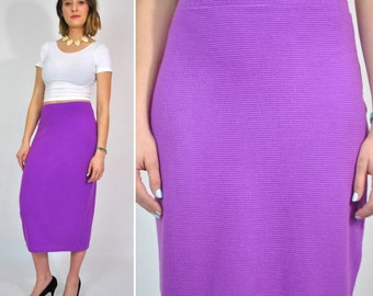 80s High Waist Ribbed Purple Cotton Pencil Skirt Small Medium Midi Length Vintage 1980s Tight Stretch Cotton Skirt