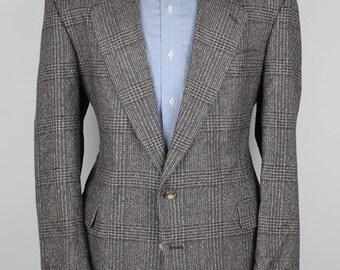 Beige Glen Plaid Mens Tweed Jacket - Haggar Blue Vintage Silk 44 R mens Sport Coat Blazer