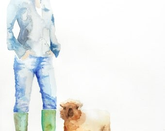 "Fine Art Print** watercolor on canvas, farmer and babydoll sheep, ""Rosie"""