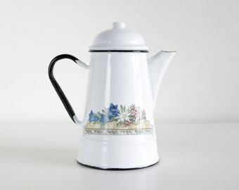 Vintage Enamel Teapot. White French Country Cottage Rustic Home Decor. Housewarming Gifts For Her