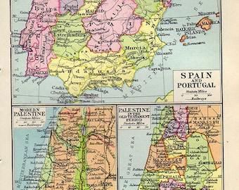 Vintage Spain Map Etsy - Map of portugal spain
