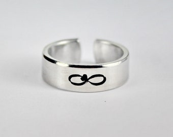 Infinity Heart Symbol Ring, Infinify Ring, Heart Ring, Simple Symbol Ring, Love And Friendship Jewelry, Hand Stamped Aluminum Cuff Ring 8-1