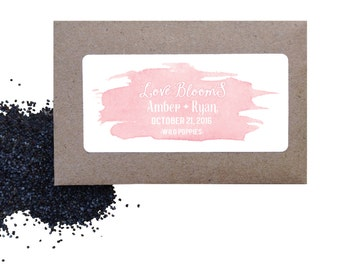 Wedding watercolor seed favors - Watercolor wild poppy seed favors for wedding or shower - love is blooming