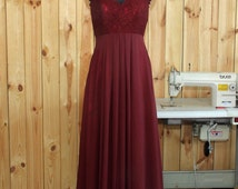 2016Burgundy Bridesmaid dress, Lace Wedding dress, Double Straps Prom dress, Evening dress floor length