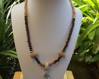 Tree of life Amber,clay wooden beaded necklace.