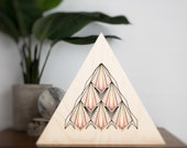 Modern embroidery. Triangle wood frame. Art deco inspired. Gold, black and teal thread art. Wood embroidery. Natural wood panel. Home decor.