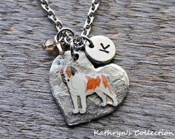 St. Bernard necklace, St. Bernard Jewelry, St Bernard Dog, Heart Dog, St. Bernard MOM, St. Bernard Gift