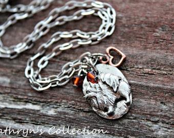 Pomeranian Necklace, Pomeranian Jewelry, I love My Pomeranian, Heart Dog Jewelry