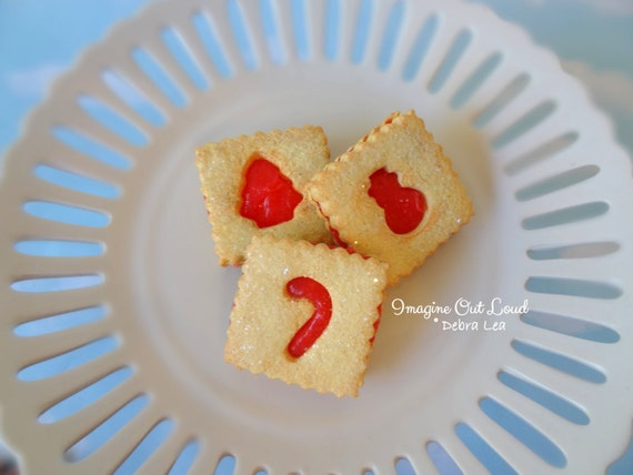 Fake Cookies Christmas Holiday Strawberry Cherry Sandwich Linzer Square Tart Set of 3