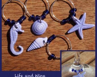 Beach Wine Glass Charms1 - set of 4