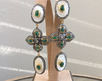 Vintage Like Diamond Emerald Earrings