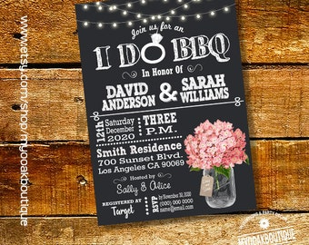 I Do BBQ invitation couples shower engagement chalkboard mason jar pink hydrangea bridal shower digital printable invite 14054