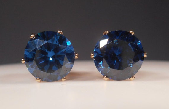 Simulated blue sapphire stud earrings8mm man made blue for Man made sapphire jewelry