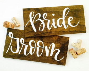 Bride & Groom Wood Signs - Wedding signs/chair signs - Hand lettered in Modern Calligraphy