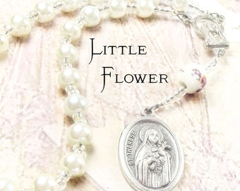 St THERESE CHAPLET with Purest White Swarovski Pearls and Hand Painted Rose Ceramic bead and St Therese  Medal