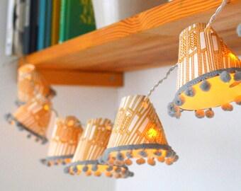 Ornamental Wave Yellow Fairy Lights - handmade lights - home decor - patterned fairy lights - lanterns - decorative lights - little lights