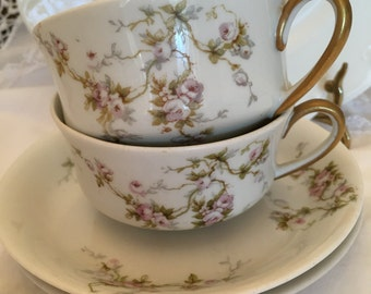 Vintage Limoges Cups and Saucers- Mix and Match Light Floral- Pink Roses, Lavender Green and Gray- Set of Two each-PL Limoges France