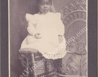 Antique Cabinet Photo - Mounted photo  African American Little Boy