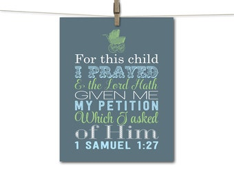 Baby boys scripture wall art, christian nursery decor, slate blue, lime green, baby blue, for this child I have prayed, subway art