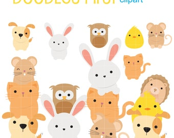 Cute Baby Animals Stack Clip Art for Scrapbooking Card Making Cupcake Toppers Paper Crafts