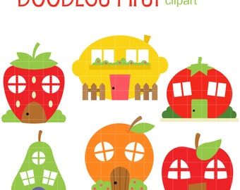 Fruit Houses Clip Art for Scrapbooking Card Making Cupcake Toppers Paper Crafts