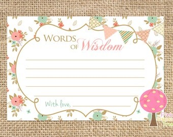 Shabby Chic Words of Wisdom Cards for Baby Shower, Peach and Mint, Words of Advice, Flowers, Matching, INSTANT DOWNLOAD