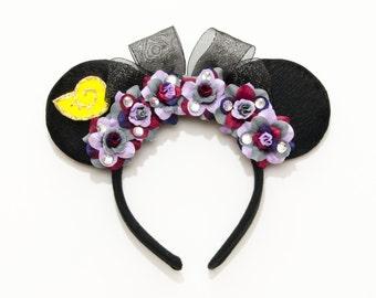 Ursula Mouse Ears Headband, Sea Witch Mouse Ears, Villain Mouse Ears, Flower Mouse Ears, LED Headband, Ursula Costume, Little Mermaid Ears