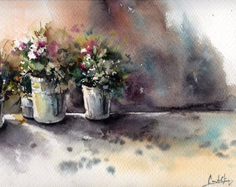 ORIGINAL Watercolor Painting, Flowers Market, Watercolour Art, Lights and Shadows