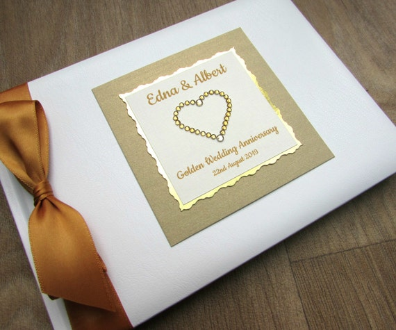 Golden th wedding anniversary guest book by