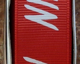 "2 Yards 7/8"" Red with White ""RUN"" Print Grosgrain Ribbon - Marathon - Track - School - US Designer"
