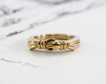 Antique 14k Fede Gimmel Ring, Yellow Gold Alternative Engagement Wedding Ring, Hands Clasped Hidden Heart Three Ring Stacking Band
