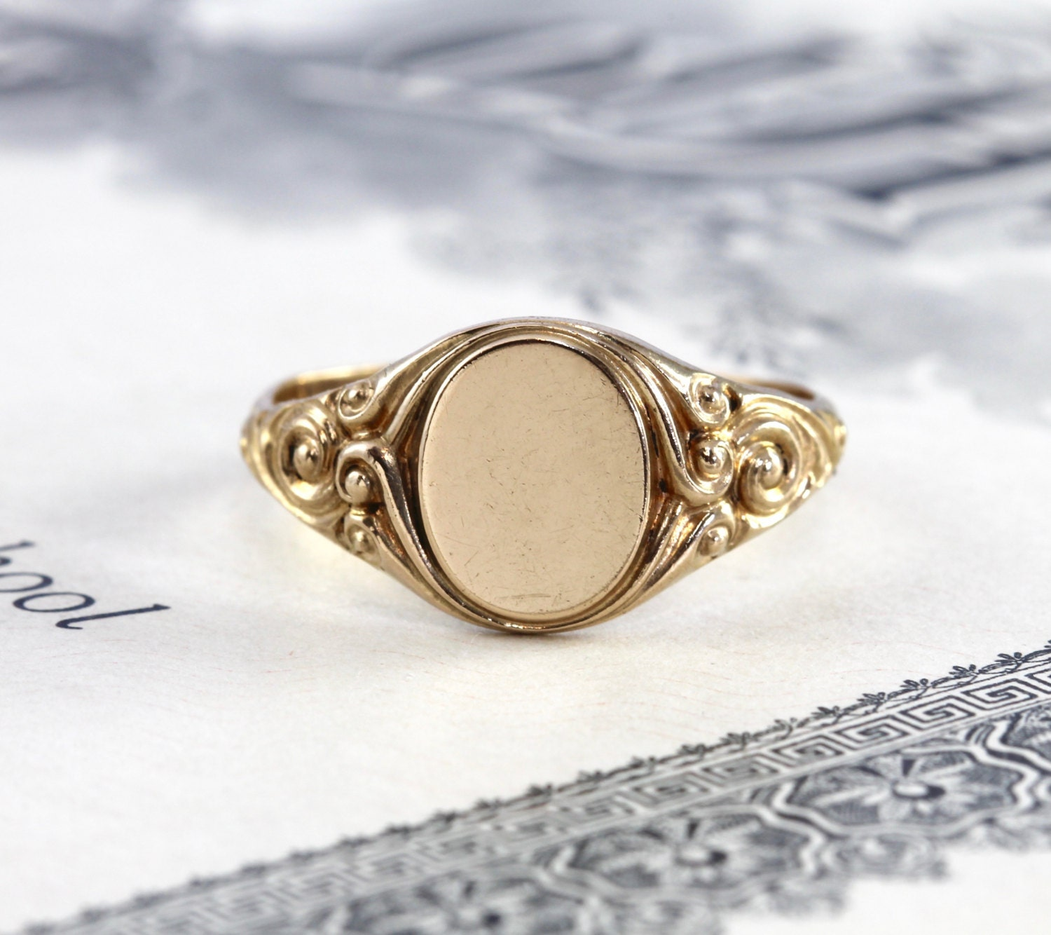Antique Signet Ring Victorian Yellow Gold Filled Gf Ornate