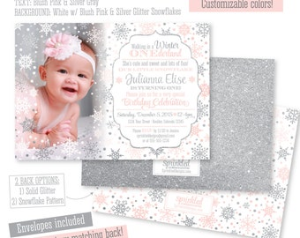 Winter ONEderland Birthday Invitation Girl Photo Card - Gray White Silver Glitter Snowflakes Snow - First 1st Birthday Printed Party Invites