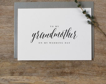 Wedding Card To My Grandmother Wedding Day - To My Grandmother Wedding Card, Wedding Stationery, Thank You Wedding Card, Wedding Note, k7