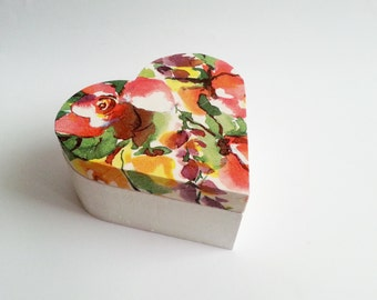 Flowers trinket heart box decoupage valentines keepsake box small wooden box