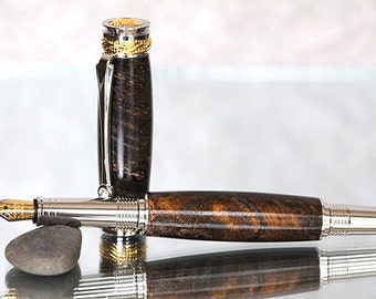 Admiral Series Fountain Pen: Amboyna Burl with 22kt Gold and Rhodium