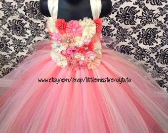 Couture Flower Girl Tutu Dress, Pink Coral Flower Girl Tutu Dress, Flower Girl Tutu Dress, Tutu Dress with Flowers, Flower Girl  Dress